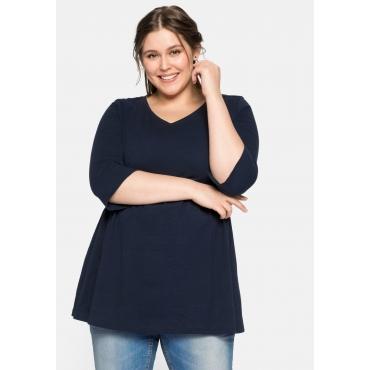 Shirt mit Spitze und geschlitzten 3/4-Ärmeln, in A-Linie, nachtblau, Gr.44-58