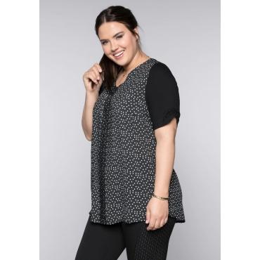 Shirt mit Spitzenbesatz, schwarz-weiß, Gr.44/46-56/58
