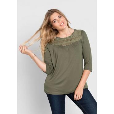 Große Größen: Shirt mit Spitzeneinsatz, khaki, Gr.40/42-56/58