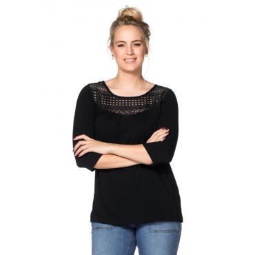 Große Größen: Shirt mit Spitzeneinsatz, schwarz, Gr.40/42-56/58
