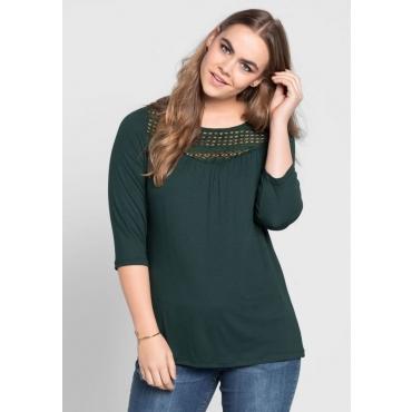 Große Größen: Shirt mit Spitzeneinsatz, tiefgrün, Gr.40/42-56/58