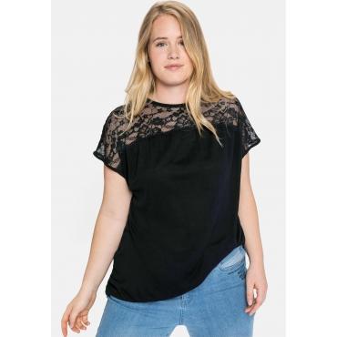 Shirt mit Spitzenpasse an der Schulterpartie, schwarz, Gr.40/42-56/58