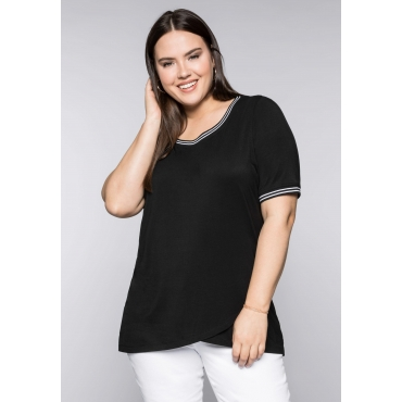 Shirt im Layerlook mit Streifendetail, schwarz, Gr.44/46-56/58