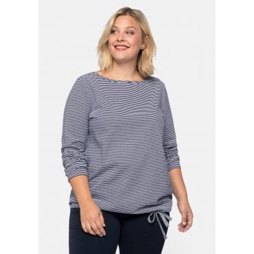 Shirt mit Struktur-Ringeln, Bindeband am Saum, marine, Gr.44/46-56/58