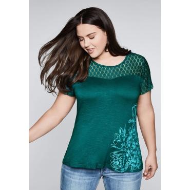 Shirt mit transparenter Spitze, smaragd, Gr.44/46-56/58
