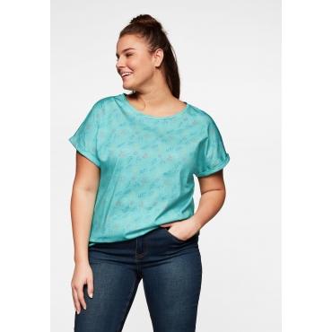 Shirt mit Tropical-Alloverdruck und Gummizugbund, pastelltürkis, Gr.44/46-56/58