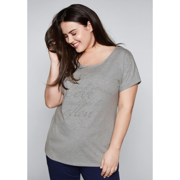 Große Größen: Shirt mit überschnittenem Ärmel, hellgrau meliert, Gr.44/46-56/58