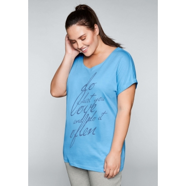Große Größen: Shirt mit überschnittenem Ärmel, himmelblau, Gr.44/46-56/58