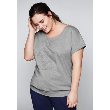Große Größen: Shirt mit überschnittenen Ärmeln, hellgrau meliert, Gr.44/46-56/58
