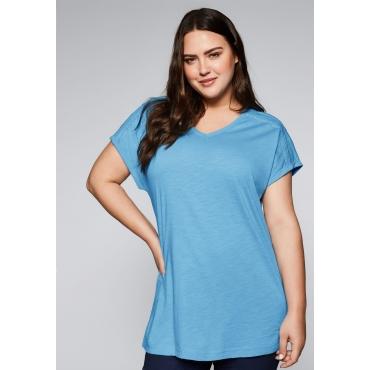 Große Größen: Shirt mit überschnittenen Schultern, himmelblau, Gr.44/46-56/58