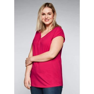 Große Größen: Shirt mit überschnittener Schulter, dunkelpink, Gr.44-58