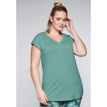 Große Größen: Shirt mit überschnittener Schulter, jade, Gr.44-58