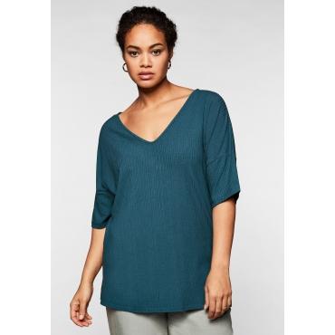 Shirt mit V-Ausschnitt, in Oversize-Form, petrol, Gr.44/46-56/58