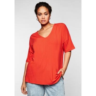 Shirt mit V-Ausschnitt, in Oversize-Form, rotorange, Gr.44/46-56/58