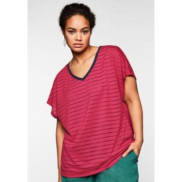 Shirt mit V-Ausschnitt, in Streifenoptik, dunkelpink, Gr.44/46-56/58
