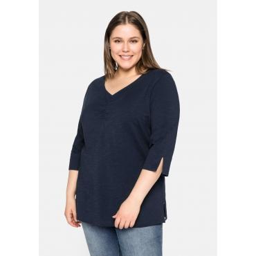 Shirt mit V-Ausschnitt und 3/4-Ärmeln, nachtblau, Gr.44/46-56/58