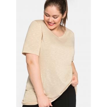 Shirt mit V-Ausschnitt und Gummizugbund, beigefarben, Gr.44/46-56/58