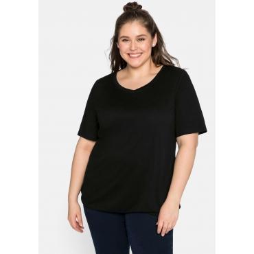 Shirt mit V-Ausschnitt und Gummizugbund, schwarz, Gr.44/46-56/58
