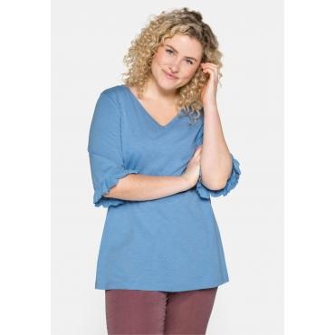 Shirt mit V-Ausschnitt und Volants am Ärmel, jeansblau, Gr.44/46-56/58