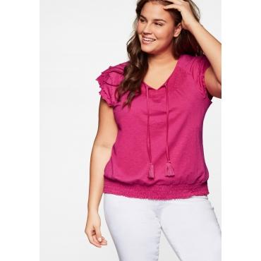 Shirt mit Volants, Schnürung und Smokdetails, pink, Gr.44-58