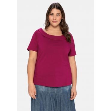 Shirt mit weitem Ausschnitt und schmalem Kragen, himbeere, Gr.40/42-56/58