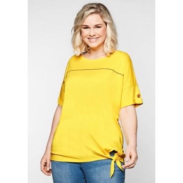 Shirt mit Ziernaht und Knotendetail am Saum, gelb, Gr.44/46-56/58