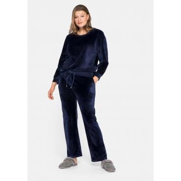 Große Größen: Shirt und Hose im Set, aus weicher Nicki-Qualität, marine, Gr.44-58