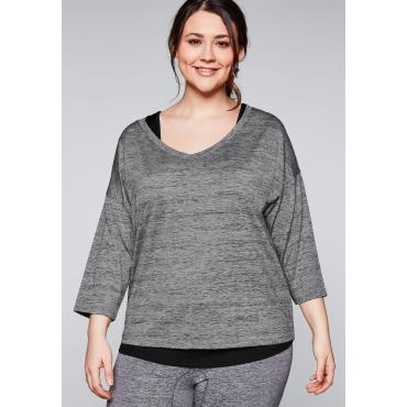 Große Größen: Shirt und Top im Set aus Funktionsmaterial, grau+schwarz, Gr.44-58