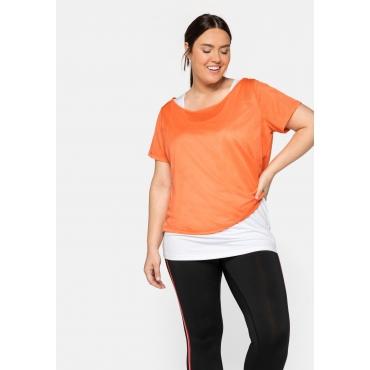 Shirt und Top im Set, aus Funktionsmaterial, mandarine+weiß, Gr.44-58