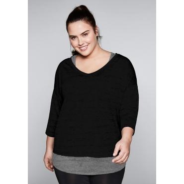 Große Größen: Shirt und Top im Set aus Funktionsmaterial, schwarz+grau, Gr.44-58