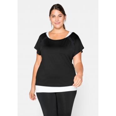 Shirt und Top im Set, aus Funktionsmaterial, schwarz+weiß, Gr.44-58