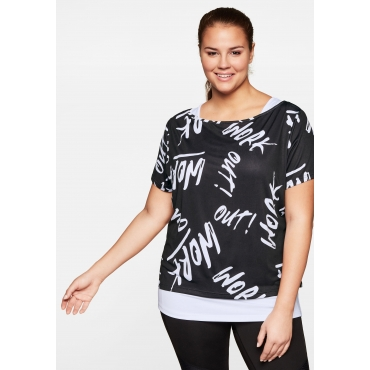 Shirt und Top im Set aus Funktionsmaterial, weiß+schwarz, Gr.44-58