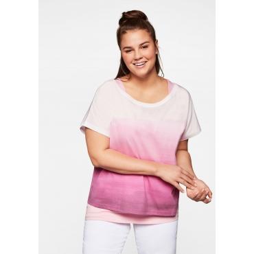 Shirt und Top im Set, mit Batik-Alloverdruck, rosa, Gr.44-58