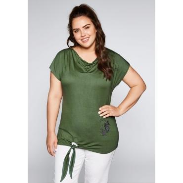 Große Größen: Shirt zum Knoten mit Wasserfallausschnitt, khaki, Gr.44/46-56/58