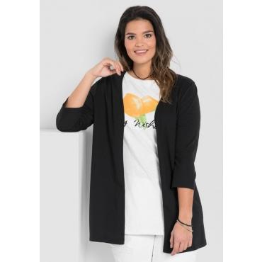 Große Größen: Shirtjacke in Longform, schwarz, Gr.40/42-56/58
