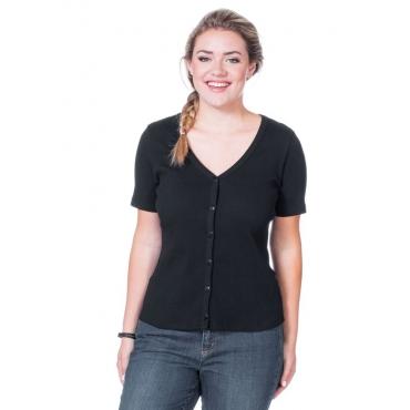 Große Größen: Shirtjacke mit Knopfleiste, schwarz, Gr.40/42-56/58
