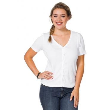 Große Größen: Shirtjacke mit Knopfleiste, weiß, Gr.40/42-56/58