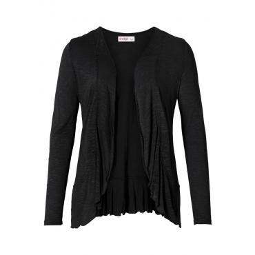 Große Größen: Shirtjacke in verschlussloser Form mit Volants, schwarz, Gr.40/42-56/58