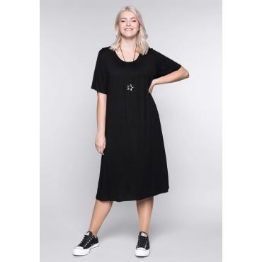 Shirtkleid in A-Linie mit rundem Ausschnitt, schwarz, Gr.44-58