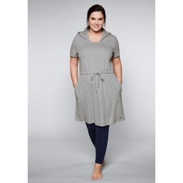 Große Größen: Shirtkleid mit Kapuze, hellgrau meliert, Gr.44/46-56/58