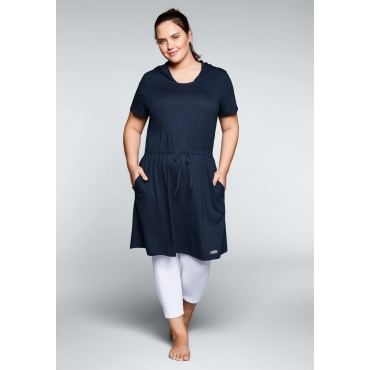 Große Größen: Shirtkleid mit Kapuze, marine, Gr.44/46-56/58