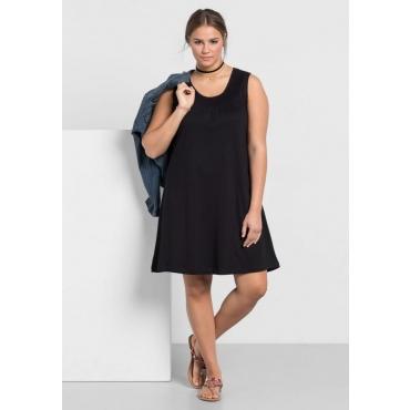 Große Größen: Shirtkleid mit Smok-Einsatz, schwarz, Gr.40-58