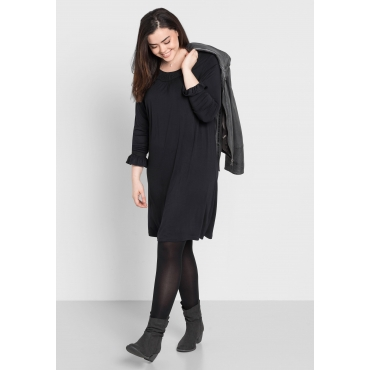 Große Größen: Shirtkleid mit Spitze, schwarz, Gr.44-58