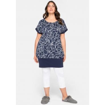 Shirtkleid mit Taschen, marine bedruckt, Gr.44-58