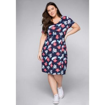 Große Größen: Shirtkleid mit tropischem Druck und Gummizug, marine bedruckt, Gr.44-58