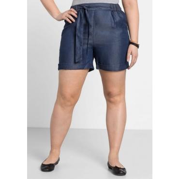 Große Größen: Shorts mit Bindegürtel, dark blue used Denim, Gr.44-58