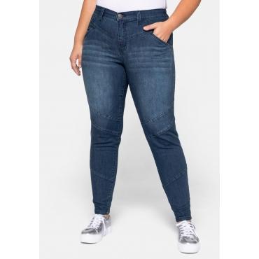 Große Größen: Skinny Biker-Jeans mit REPREVE® Polyesterfasern, dark blue Denim, Gr.44-58