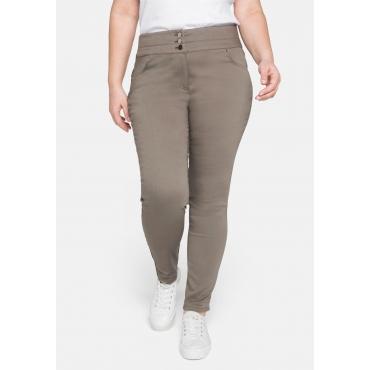 Skinny Hose mit breitem Bund und drei Knöpfen, khaki, Gr.44-58