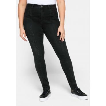 Skinny Jeans aus Power Stretch mit Nietenapplikation, black Denim, Gr.44-58