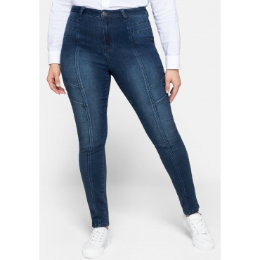 Skinny Jeans aus Power Stretch mit Nietenapplikation, dark blue Denim, Gr.44-58